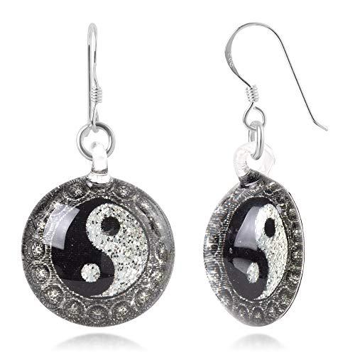 Sterling Silver Hand Blown Murano Glass Yin Yang Symbol Black & White Round Dangle Earrings