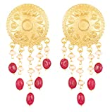 Touchstone Indian Bollywood Ethnic Style Carving Work Round Shape Bahubali Inspired Designer Jewelry Dangling Earrings Hung with Red Onyx and Fresh Water Pearls for Women in Gold Tone.