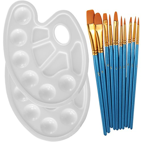 - Heartybay 10Pieces Round Pointed Tip Nylon Hair Brush Set With 2 Piece Paint Tray Palette