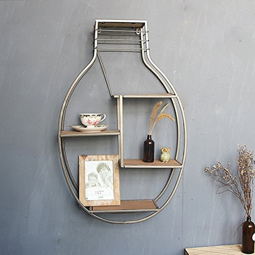 ZHEN GUO Unique Industrial Metal Floating Shelf Wall Mounted, Bulb Shaped Iron Bracket & Solid Wooden Planks, Retro Wall Decor Display for Office, Home, Bar, 4 Tiers