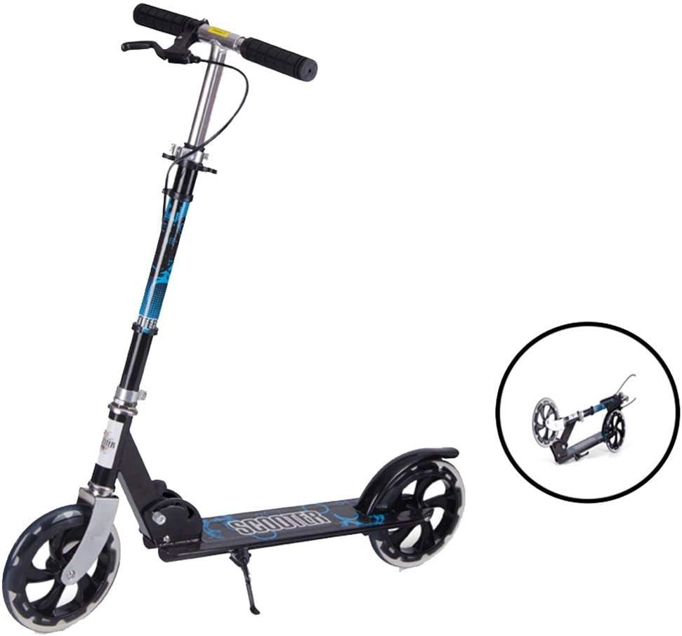 キックボード キックスクーター 調整可能な高さスクーター、アルミ合金フレーム付き2輪ティーン/アダルトキックスクーター、フロント&リアスプリング衝撃吸収システム、折りたたみ式、調整可能Tハンドルバー - 100kg重量制限 (Color : 黒) 黒