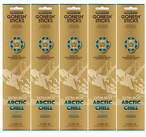 Gonesh Incense Sticks Extra Rich Collection - Arctic Chill 5 Packs (100 -