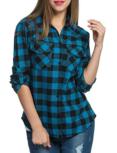 Bifast Women's Gingham Shirt Cotton Slim Fit Long Sleeve Button Up Plaid - Short Gingham Denim