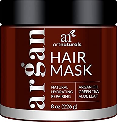 ArtNaturals Argan Oil Hair Mask - Deep Conditioner, 100% Organic Jojoba, Aloe Vera and Keratin, Repair Dry, Damaged or Color Treated Hair after Shampoo for All Hair Types, Sulfate Free, 8 oz.