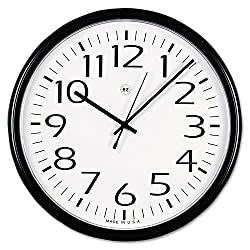 Universal UNV11641 Round Wall Clock 13-1/2, Black