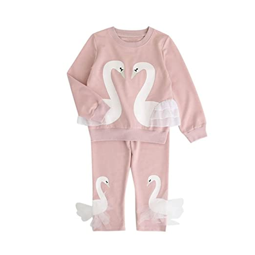 be524804 Digood Toddler Newborn Baby Kids Girls Swan Creative Sweatshirt T-shirt  Tops+Long Pants