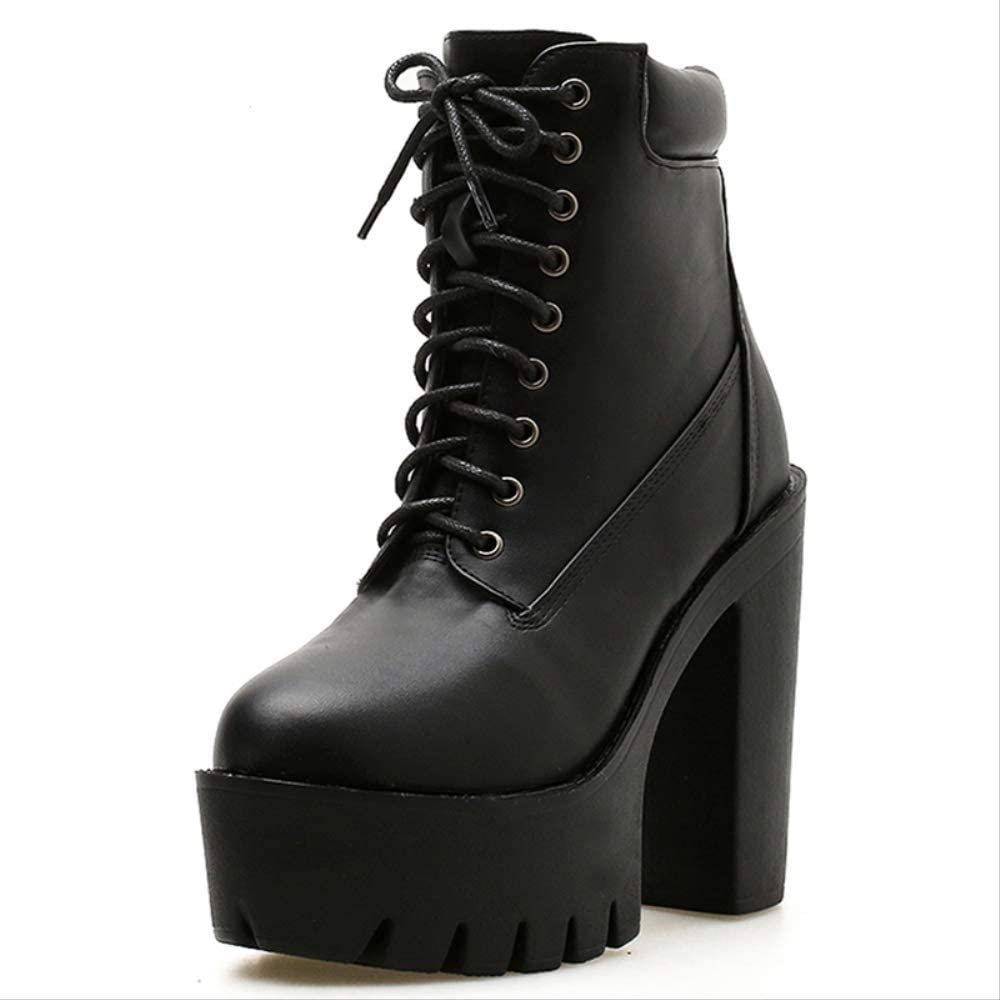 ACWTCHY Women Ankle Boots Lacing Soft Leather Round Toe Platform Female Short Boots Black