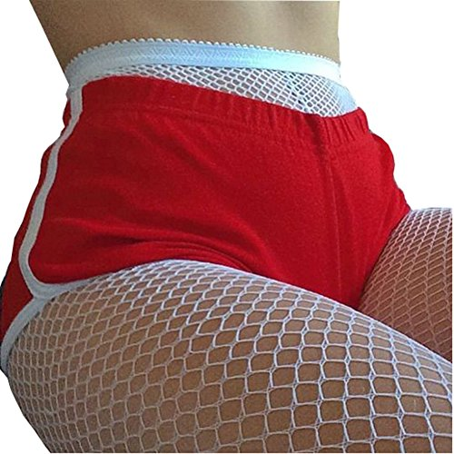 Sexy Large Fishnet Breathable Elastic High Top Stockings Tights Pantyhose (Small Hole, White) (White Fishnets)