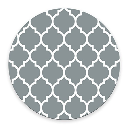 Non-Skid Natural Rubber Back Mint Quatrefoil Pattern Light Grey Design Soft Mouse Pad Gaming Mousepad ()