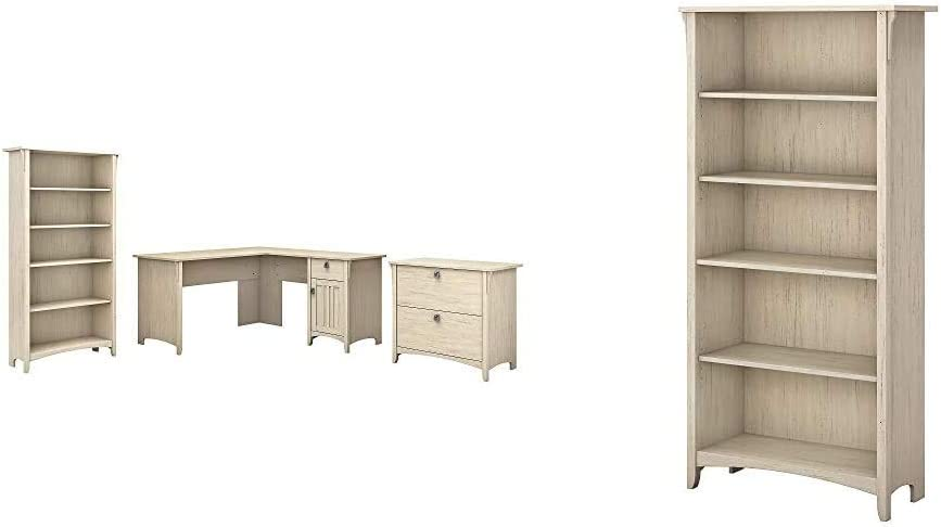 Bush Furniture Salinas L Shaped Desk with Lateral File Cabinet and 5 Shelf Bookcase, 60W, Antique White & Salinas 5 Shelf Bookcase in Antique White
