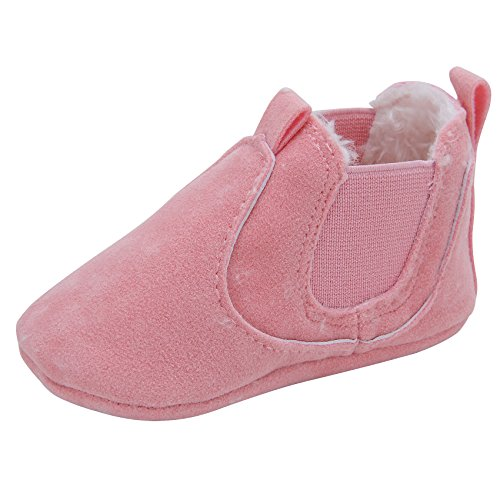 Kuner Baby Boys Girls HandmadeTassel Plush Soft Soled Winter Warm Boots Moccasins First Walkers Shoes (12cm(6-12months), Pink-1) (Pink Shoes Brand)