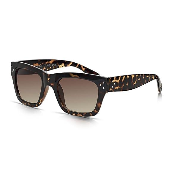 Sunglass Junkie Lunettes de Soleil Wayfarer pour Femme avec Monture et Branches Larges Noires L3rl63x