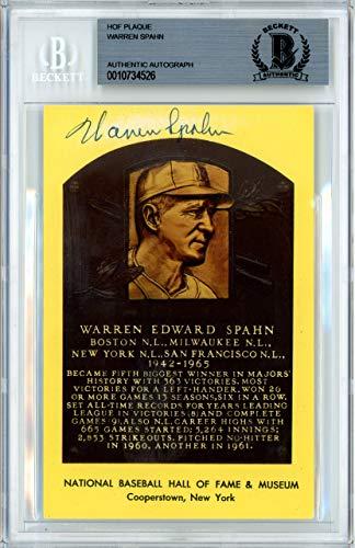 Warren Spahn Autographed Signed HOF Plaque Postcard Milwaukee Braves Memorabilia Beckett Authentic
