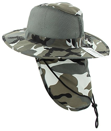 JFH GROUP Wide Brim Unisex Safari Outback Summer Mesh Hat with Neck Flap (FBN City Camo L)