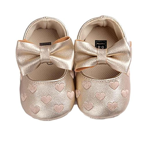 [Fheaven Baby Girl Bowknot Leater Shoes Sneaker Anti-slip Soft Sole Toddler (US:4( Age12~18M), Gold)] (12 Month Girl Costume)