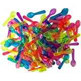 Outside the Box Papers Pink, Blue , Yellow, Orange and Green Mini Taster Spoons Clear Plastic - 150 per Package