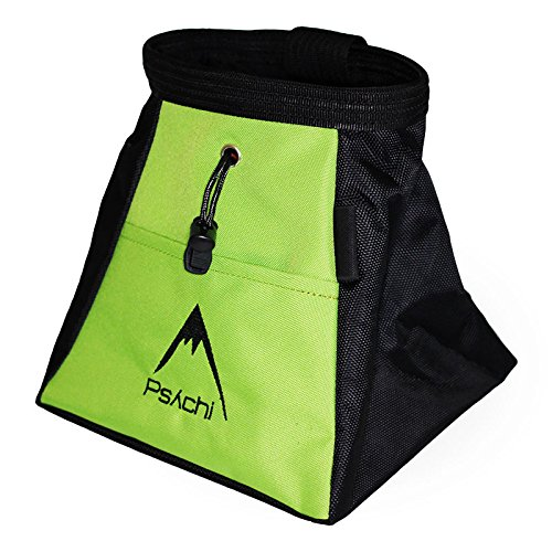 Boulder Chalk Bag - Psychi Chalk Bouldering Bucket Stand Bag for Rock Climbing with Front and Rear Zip Storage (Green)