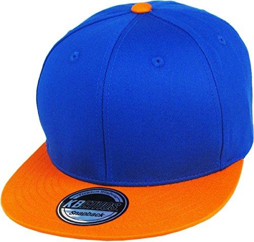 (KBETHOS KNW-1467 ROY-ORG Cotton Snapback Solid Blank Cap Baseball Hat Flat Brim)