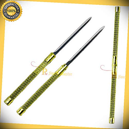 2 in 1 Gold Double Bladed Ninja Sword Staff Spear Short perfect for cosplay outdoor camping -