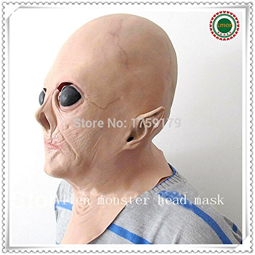 2015 - Hot sale Realistic UFO Alien Head Mask Latex Creepy Costume Party latex Rubber Mask Costume Prop (Realistic Masks For Sale)