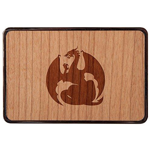 Wood Dragon Belt - Dragon Stainless Steel Belt Buckle With Cherry Wood Veneer- Laser Engraved Wood Belt Buckle - Big Belt Buckle