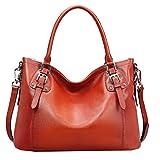 AINIMOER Women's Large Genuine Leather Vintage Shoulder Handbags Ladies Top-handle Purse Cross Body Bag(Maroon)