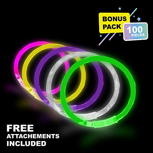 Lumistick 10 Inch Glow Stick Bracelets | Non-Toxic & Kids Safe Light Up Neon Handwear | Party Pack Bendable Light Sticks with Connectors | Glows in The Dark Chem Lights (Assorted, 100 Glow Sticks)]()