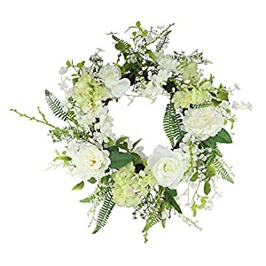 Northlight Peony and Rose Artificial Floral Spring Wreath, White and Green 24-Inch 54