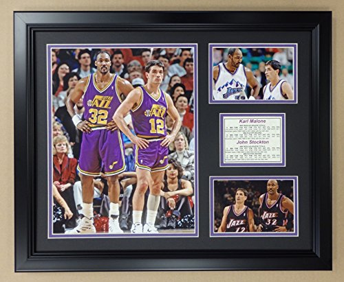Legends Never Die NBA John Stockton and Karl Malone Utah Jazz Double Matted Photo Frame, 18