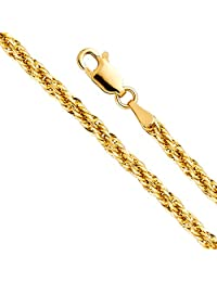 14k Yellow Gold Hollow 3mm Fancy Rope Chain Necklace with Lobster Claw Clasp
