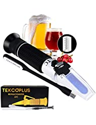 Brix Beer Wort & Wine Refractometer ATC Dual Scale, Specific Gravity 1.000-1.120 & Brix 0-32%, for Wine Making and Beer Brewing, fruit juice, hops sugar, Homebrew Kit, w/ EXTRA LED light & pipettes