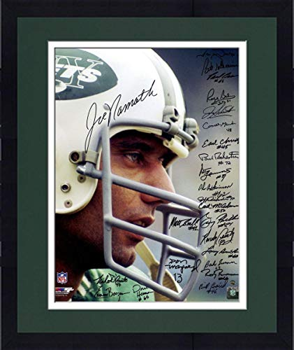- Framed 1969 New York Jets Team Signed Joe Namath Close Up Wearing Helmet 16x20 Photo (24 Signatures) - Steiner Sports Certified