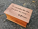 Custom engraved musical keepsake box with your choice of color and song with To remember the day you gave me away quote on top. Great gift for Father of the Bride