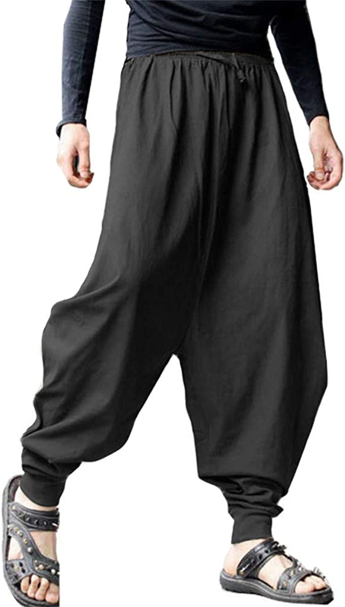 PERDONTOO Mens Casual Elastic Waist Baggy Hippie Yoga Harem Pants