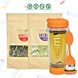 Cheap 30 Day Detox Tea Kit for Teatox & Weight Loss to get a Skinny Tummy by Teami Blends | Our Best Colon Cleanse Blend to Raise Energy, Boost Metabolism, Reduce Bloating! (Big Orange Tumbler & Infuser)