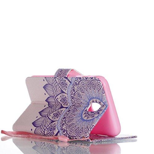Samsung Galaxy J7 (Pro) 2017 PU Cuero Funda, Vandot 3D Bling Rhinestones Mariposa Shell TPU Inner Bumper Case Funda con Billetera Tapa Holster Cierre Magnético Tarjeta Ranura Carcasa Teléfono Concha B Sheng 07