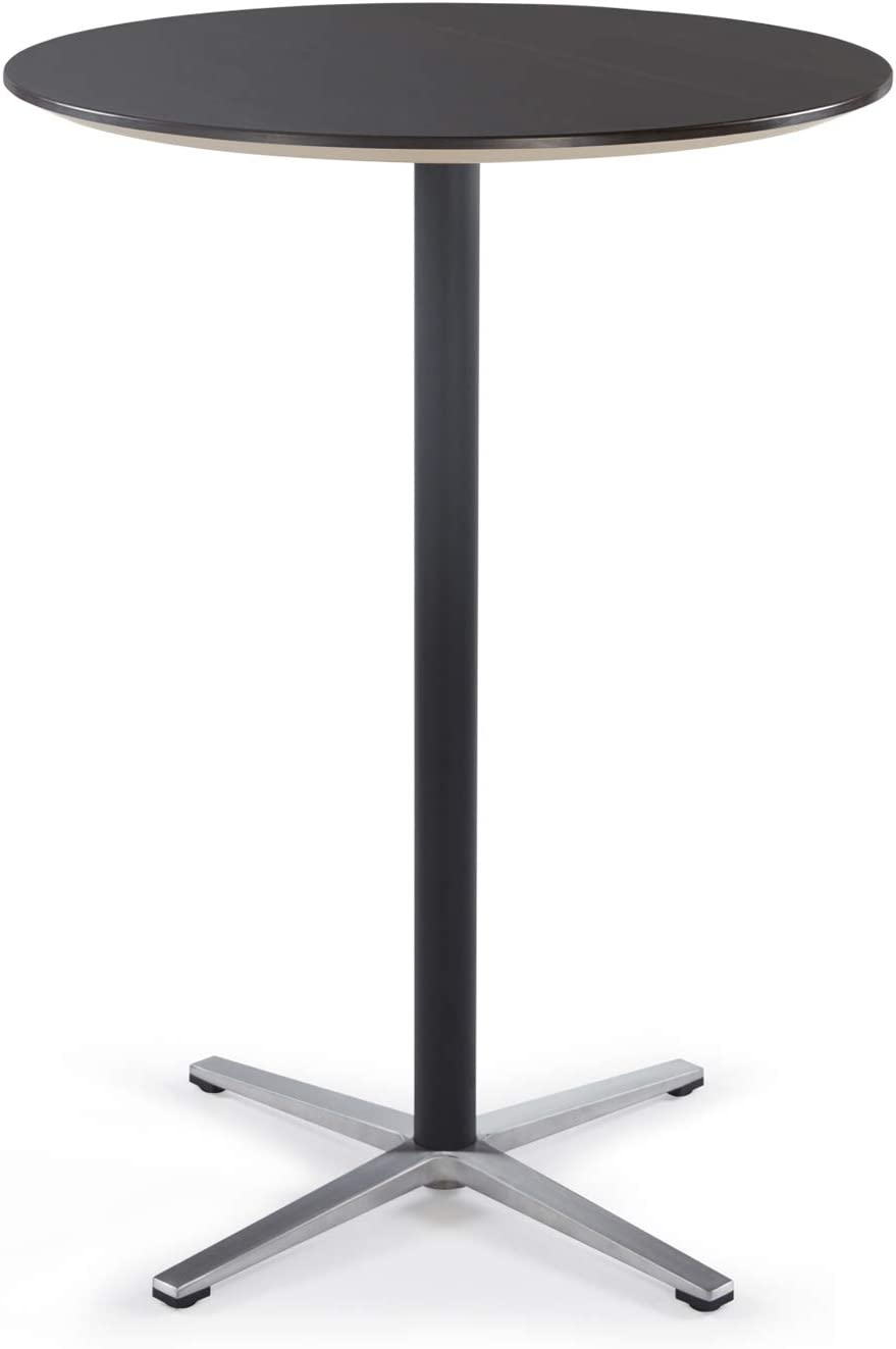 Sunon Round Bar Table High Table for Pub Bistro Cocktail Table with Tall Black Pedestal and Four Star Leg Dark Walnut,44-Inch Height