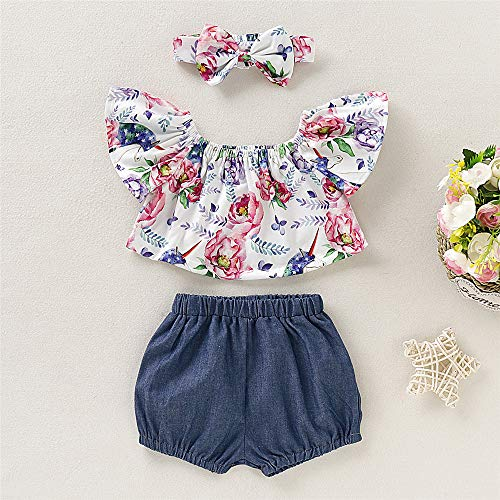 7db3a76c6cf6 Baby Girl Summer Clothes Ruffles Floral Top Denim Shorts with Cute Headband  12 Months Girl Clothes (9-12 Months, 3pcs Sets)