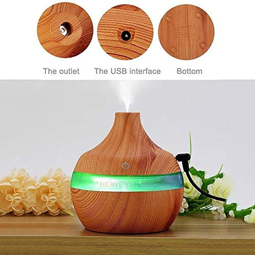 Eletric Wood Grain Ultrasonic Essential Oil Diffuser Cool Moisture Aroma Humidifier Electric Air Freshener with 7 Color Changing Nightlights for Home & Ofiice Light Wood by BleuMoo (Image #5)