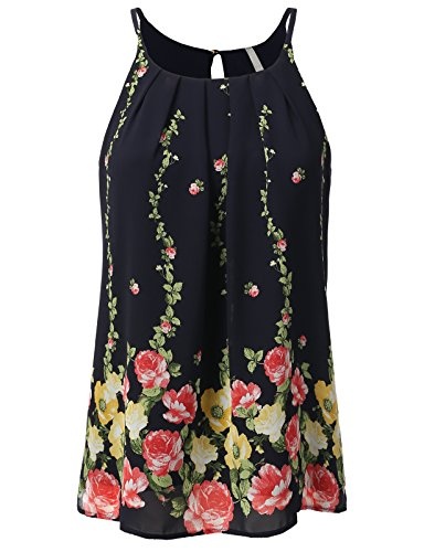 H2H Womens Classic Chiffon Border Flower Print Double Layered Pleated Camisole Blouse with Gold Butto Navy US L/Asia L (AWTTK0540)