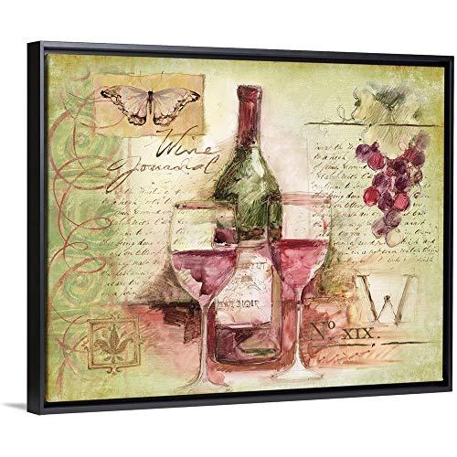 Davis Pinot Noir Wine - Wine Vignette Black Floating Frame Canvas Art, 32