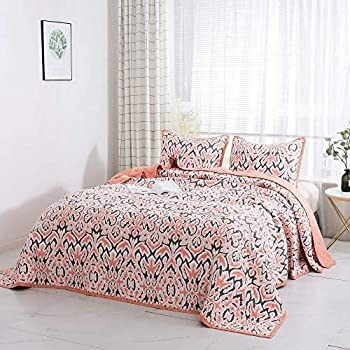 Image of 3 Piece Modern Style Coral Pink Bedspread Twin Size Beautiful All Over Diamond Quilted Abstract Boho Pattern Buttery Soft Cotton Bedspread Set Breathable Luxury Reversible Decor Oversized Bedding Set Home and Kitchen