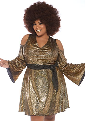 Leg Avenue Womens Plus 70s Disco Costume, Gold, 1X / 2X ()