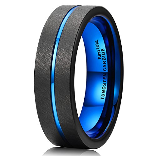 ngsten Carbide Ring Black Line Brushed Blue Wedding Band Comfort Fit(8) ()