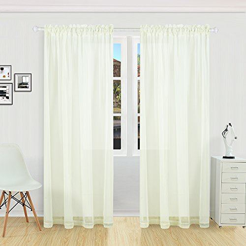 Flame Retardant Solid Color Rod Pocket Sheer Curtain For Bedroom Living Room Hotel By KEQIAOSUOCAI,White,1 Panel,52