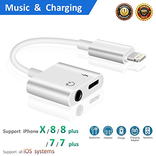 Lightning to 3.5mm Aux Headphone Jack Audio Adapter for iPhone 7/8 / X / 7 Plus / 8 Plus (Support iOS 10.3, iOS 11), Cone 2 in 1 Lightning Adapter and Charger (White)