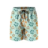 Hibiscus Flowers Seeds Mens Quick Dry Lightweight Beach Shorts with Drawstring