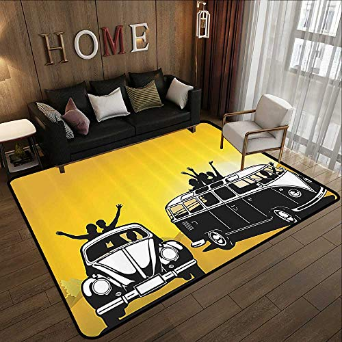- Contemporary Indoor Area Rugs,1960s Decorations Collection,Traveling in The Sixties Hippy Car Transport Vehicle Hitchhiking Daring Camping Freedom Ima 71