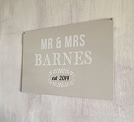 personalised mr mrs wedding gift a4 metal wall art sign amazon co
