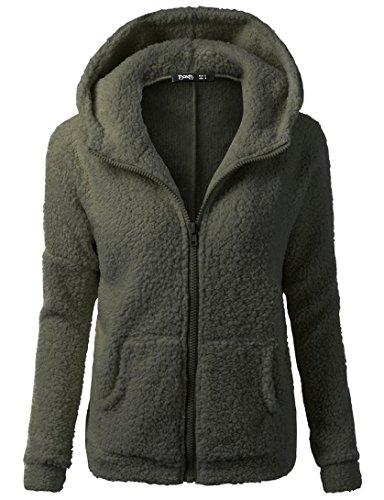 LuckyBB Women Hooded Sweater Coat, Ladies Winter Warm Wool Zipper Coat Cotton Coat Outwear Army Green